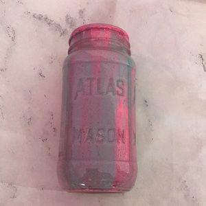 Glitter pink and blue painted mason jar home decor